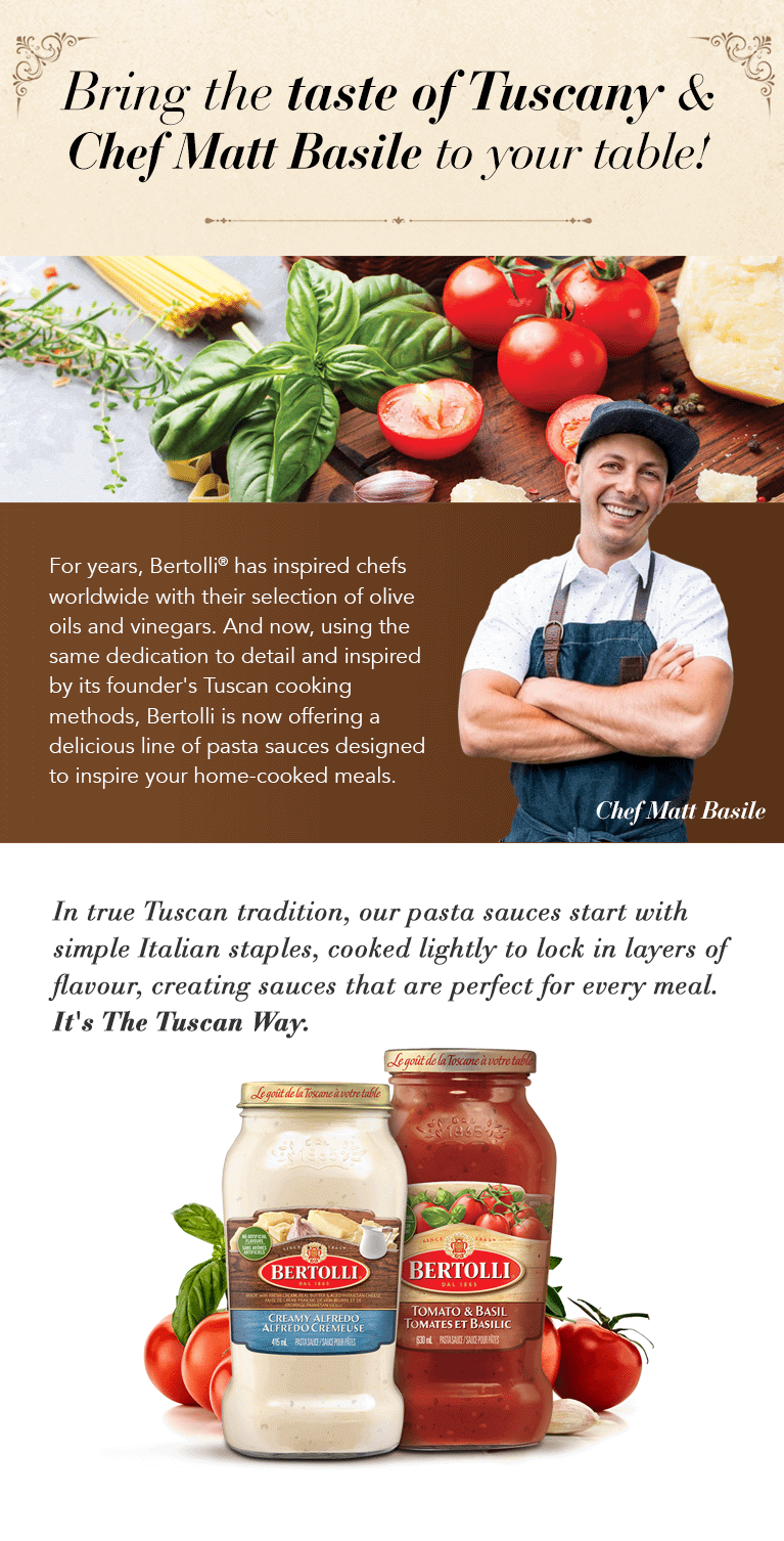 Bertolli Pasta Sauce | Food Network Canada Contest